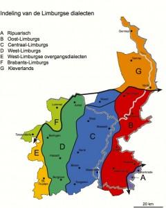 Indeling van de Limburgse dialecten (klik op de kaart voor een vergroting)